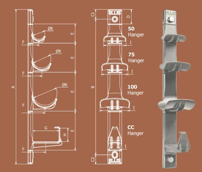 Cable Hangers - Non Metallic Cable Hanging Systems (LV MV HV Cable) - Dimensions