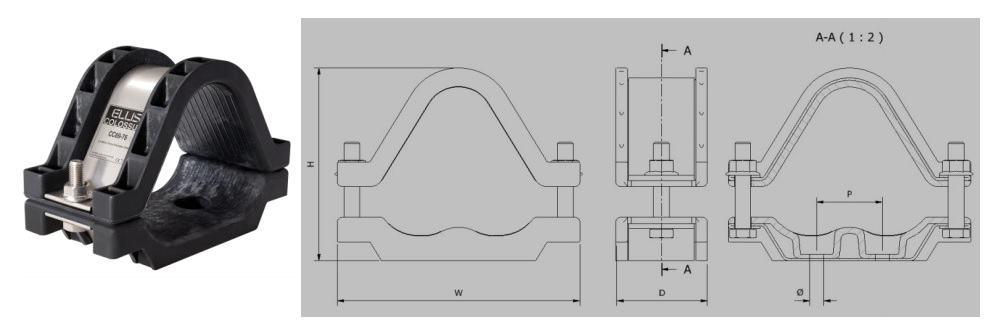 Ellis Patents Colossus Trefoil Cable Cleats (24-170mm) - Dimensions