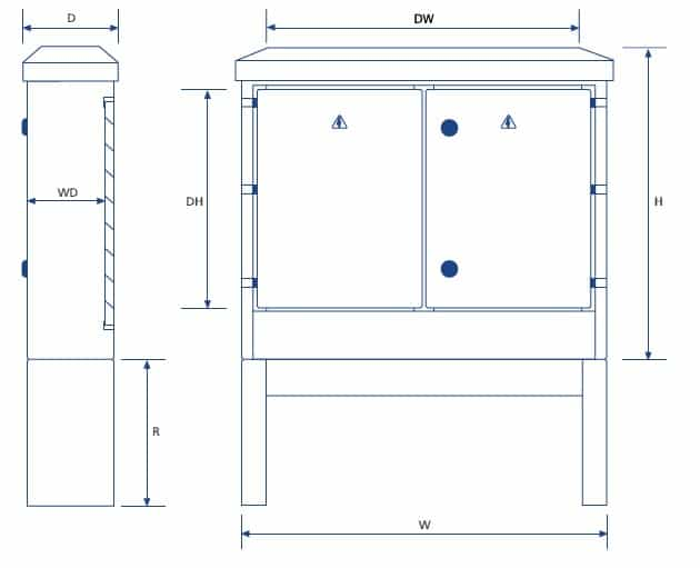Lucy Zodion Feeder Pillars (Double Door) - Dimensions