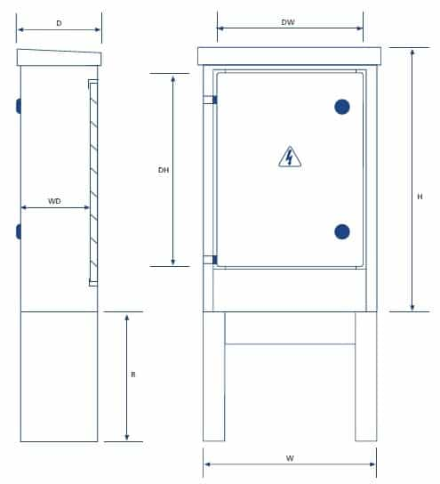 Lucy Zodion Feeder Pillars (Single Door) - Dimensions