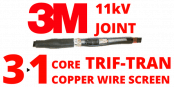 11kV Single Core Copper Wire Screen Transition Trifurcating Cold Shrink Cable Joints – 3M QS1000 92-FG4x1-3/C