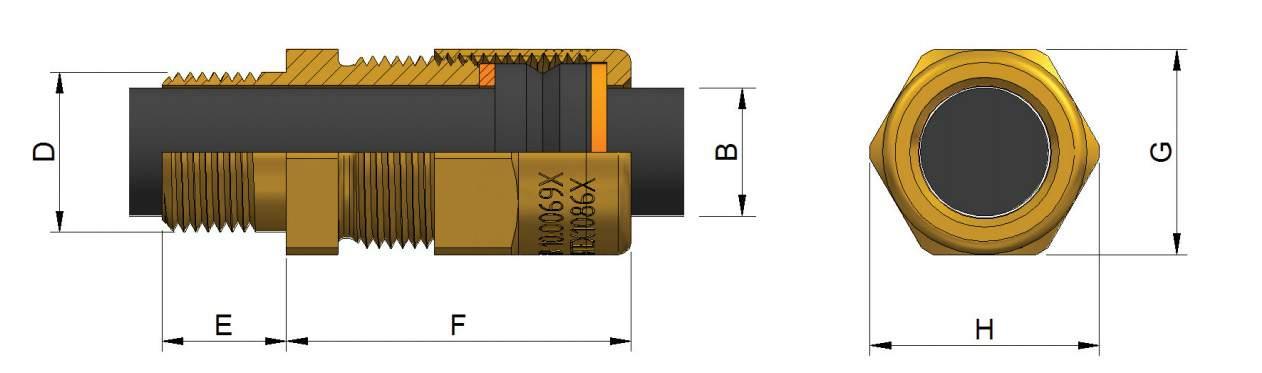 A2EX Cable Glands - Hazardous Area Exd IIC / Ex e II (Prysmian KM494)