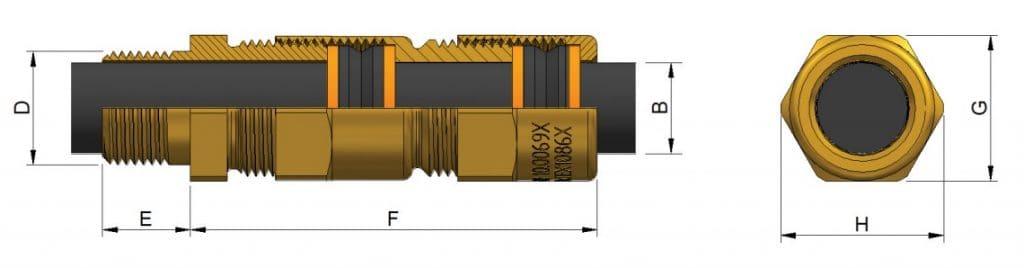 A2EXP Cable Glands – Hazardous Area Exd IIC / Ex e II (Prysmian 495AB)