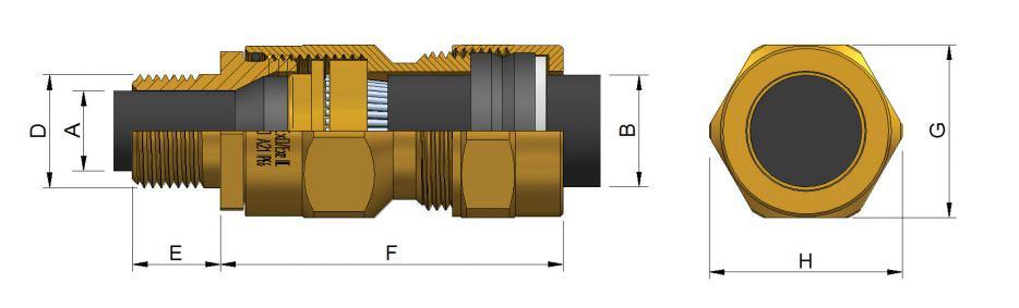 E1W-XL Cable Glands - Hazardous Area Exd IIC / Ex e II (Prysmian KA474)