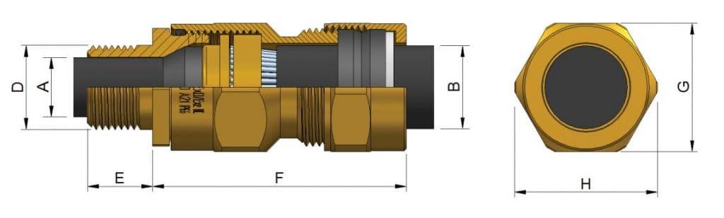 E1W-XL (NPT) Cable Glands - Hazardous Area Exd IIC / Ex e II (Prysmian 474NP)