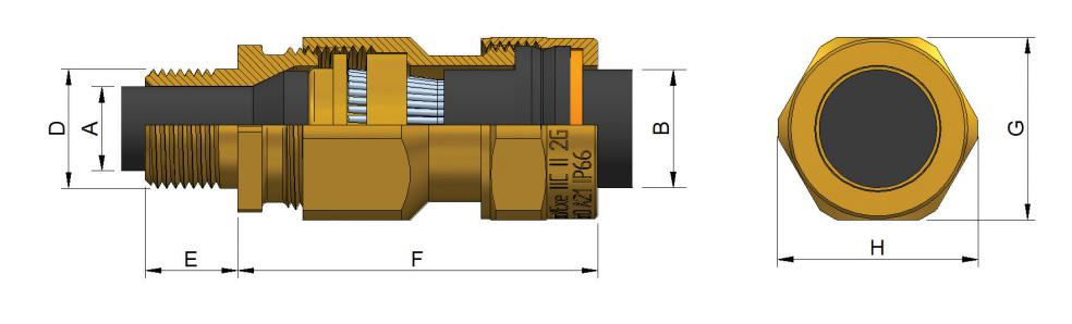 E1WF (NPT) Cable Glands - Hazardous Area Exd IIC / Ex e II (Prysmian 472NP)