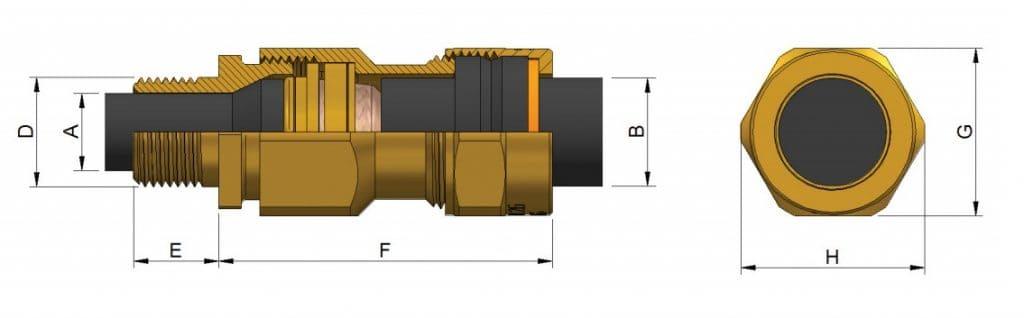 E1XF Cable Glands - Hazardous Area Exd IIC / Ex e II (Prysmian KA473)
