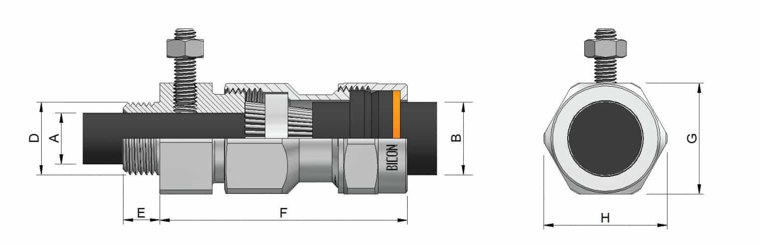 MV HV Cable Glands – Aluminium CW Prysmian 454CE - Dimensions Illustration