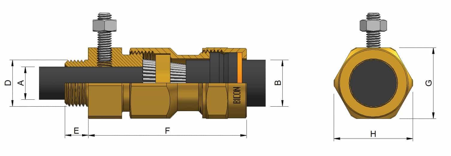 MV HV Cable Glands – Brass CW Prysmian 419CE - Dimensions Illustration