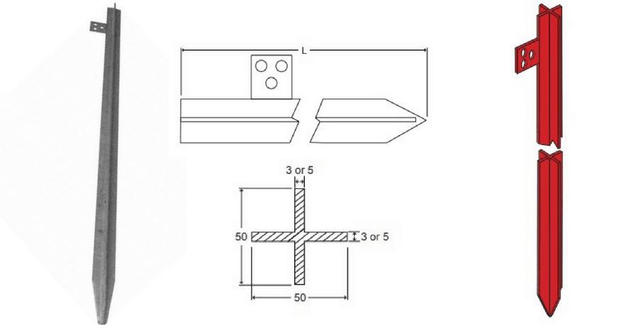 Cross Profile Galvanised Steel Earth Rods - Dimensions