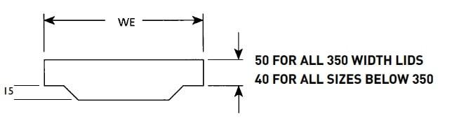 Transition Concrete Cable Trough Lids - Dimensions Illustration