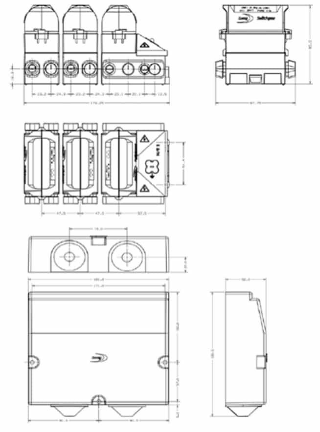 Lucy House Service Cut Out Triple Pole CNE - Dimensions