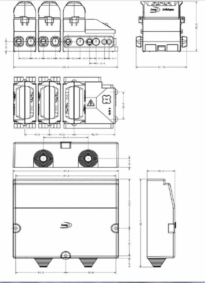 Lucy House Service Cut Out Triple Pole SNE - Dimensions