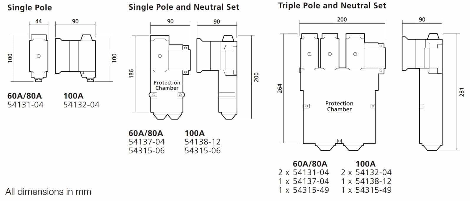 WT Henley Series 7 House Service Cutouts Dimensions