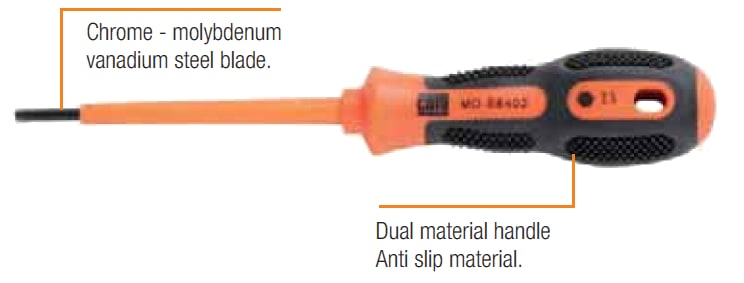 CATU Insulated Screwdrivers - Allen Hexagonal IEC 60900