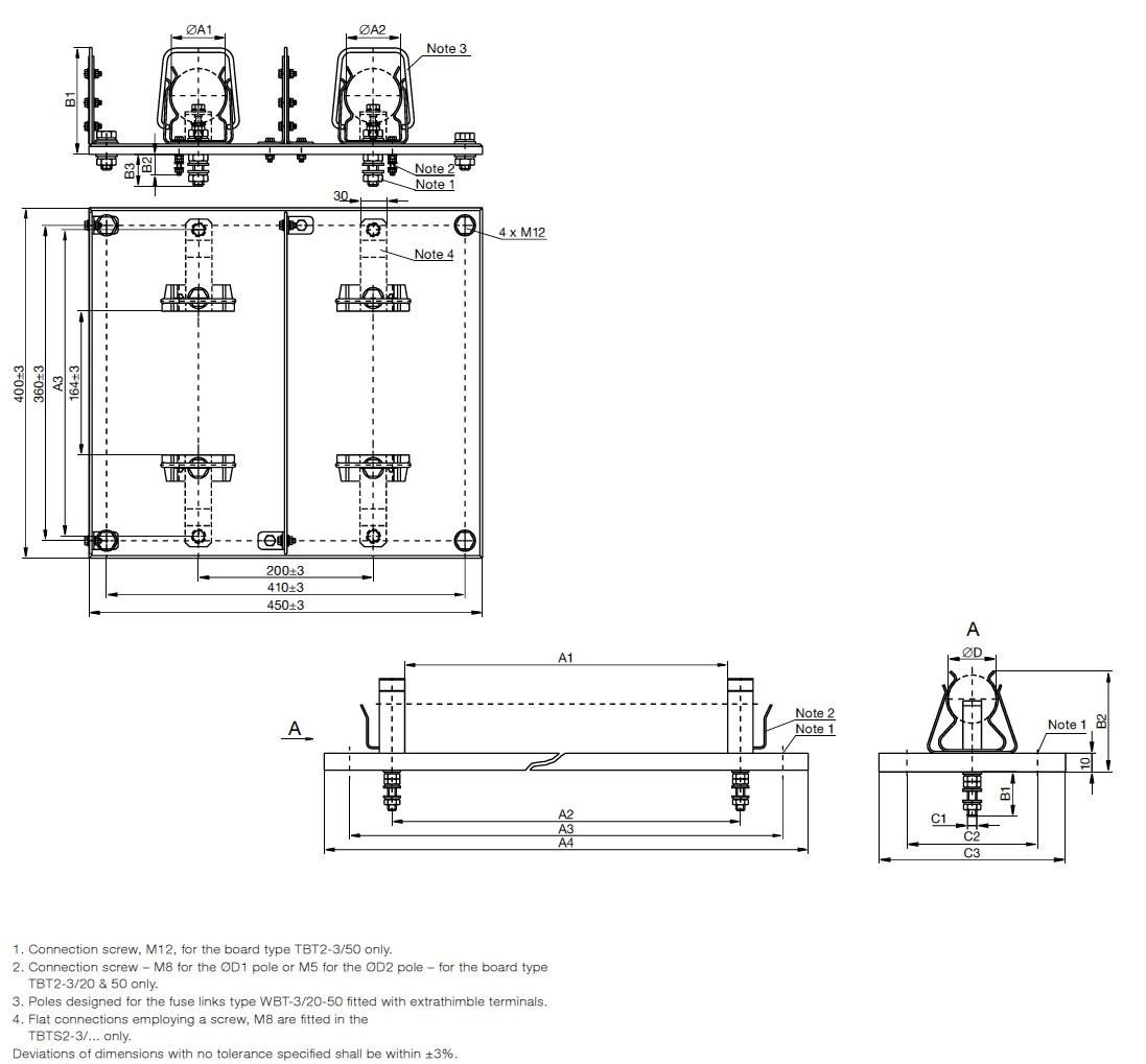 Railway Fuses - MV HV Fuses 9kV & 4kV DC Railways IEC ABB WBT - Dimensions