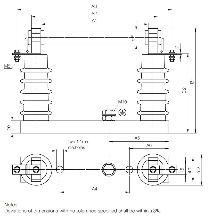 Transformer Fuses - MV HV Fuses 2kV-36kV Transformers IEC ABB WBP - Dimensions