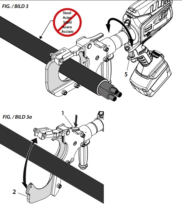 Figure 3 & 3a Insert the conductor between the blades up to the cutting point