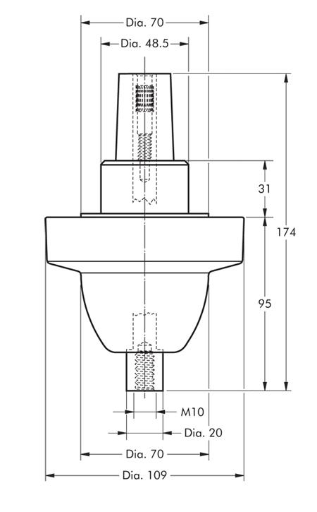 250SFR-P Nexans Euromold - Interface A - Equipment Bushing