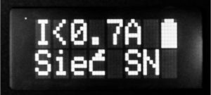 Work in medium voltage mode – alarm limit value and battery level can be seen on the screen