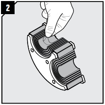 Adapt halves, which are to hold the additional cables or pipes, by peeling off layers until you reach the gap seen in pic. 3. The number of layers may not differ by more than one between the halves.
