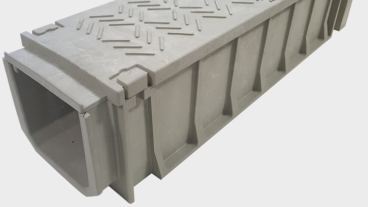 TTS Rail (Trough-Tec Systems) TTS 200 Series is nearest dimensionally to the traditional C/1/9 concrete size, but is also an applicable alternative to C/1/8 and C/1/10. Suitable for ground installation, wall mounted, or elevated on posts.