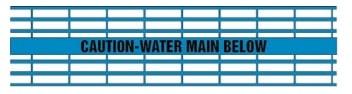 Caution Water Main Below - Blue