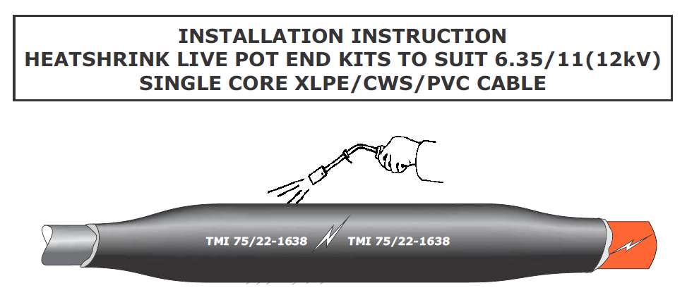 Pot End Live Cable End Seal | 11kV Cables Single Core XLPE CWS