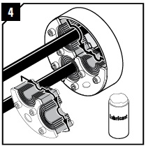 Lubricate the inside surfaces all around with Roxtec Lubricant, especially into the corners. Continue reinstallation from step 7.