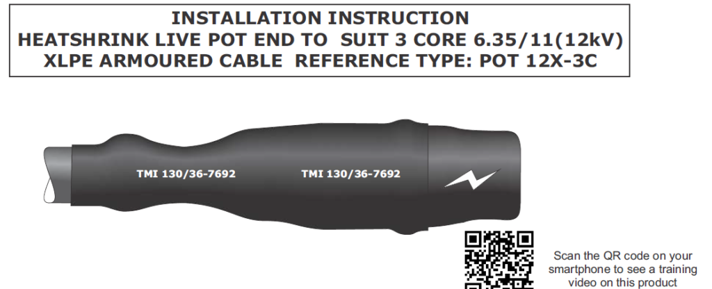 Pot End Live Cable End Seals 11kV HV High Voltage Cables 3 Core XLPE EPR