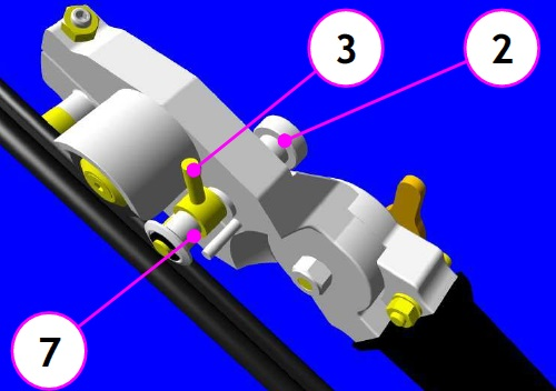 With the rod place the rollers in support in the cable lodging then tighten the knurled nut