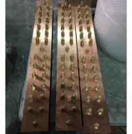 24 Way Special Earth Bar (2 Rows of 12 No. for Double Holed Lugs), 100x6mm Plain Copper Bar, M10 Brass Bolts, Mounted on Insulators & AVG Galv. Steel Base.