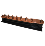 6 Way + Link Plain Copper Earth Bar, Phosphor Bronze Bolts, Mounted on Insulators & Black PVC Base.