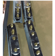 1 Way + Link + 1 Way Tinned Earth Bar, 50x6mm Tinned Copper Bar, M10 Brass Bolts, Mounted on Insulators & AVG Galv. Steel Base.