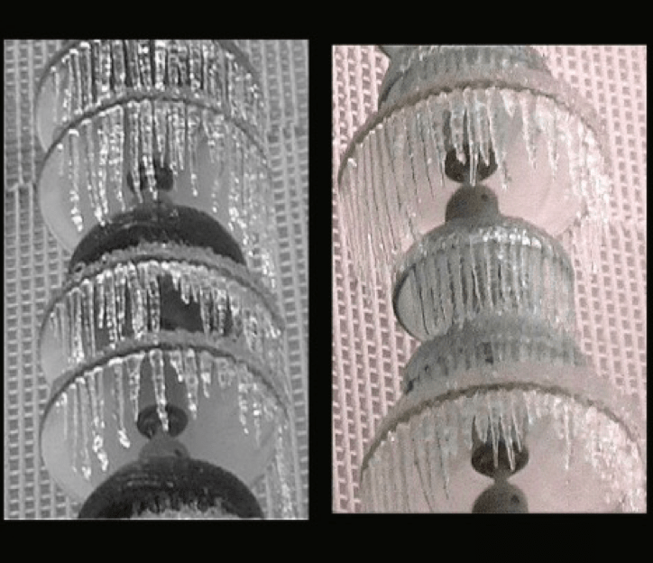 Fig. 17: Ice accretion on bell-bell-disc and bell-disc-disc suspension insulator strings.