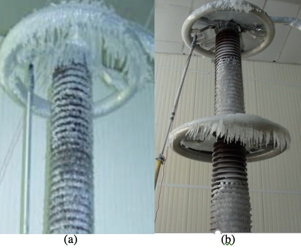 Fig.19. Ice accumulation on station post insulator, (a) with grading ring (b) with modified, screen-covered grading rings.