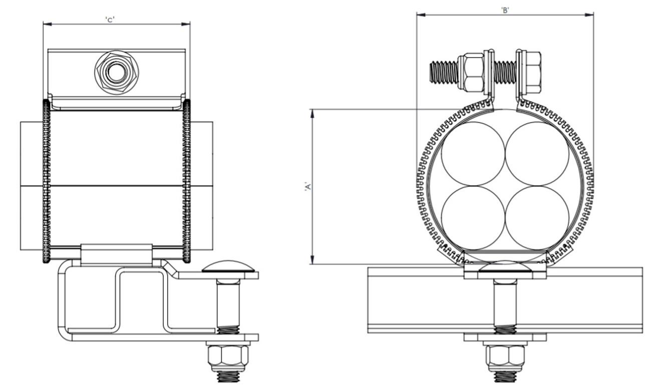 Quadplex QPSS Cable Cleats Technical Illustration