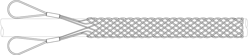 Cable Grips | Standard Double Eye Cable Grips are available for low/medium/high voltage power cable pulls and support with approximate break loads up to 27,000kgs, stainless steel 316 grade option and outside cable diameter capacity of 250mm. Customer application Cable Grips available on request.